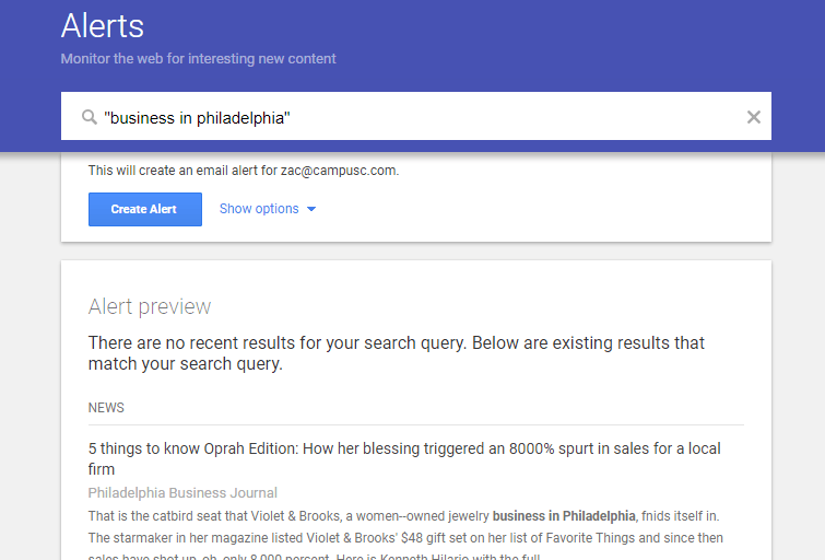 google alerts for seo