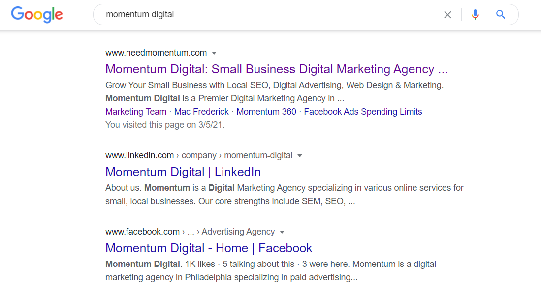 Momentum Digital Search query